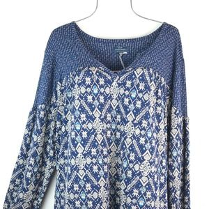 Lucky Brand Women's Blue Multi-Color Geometric Top